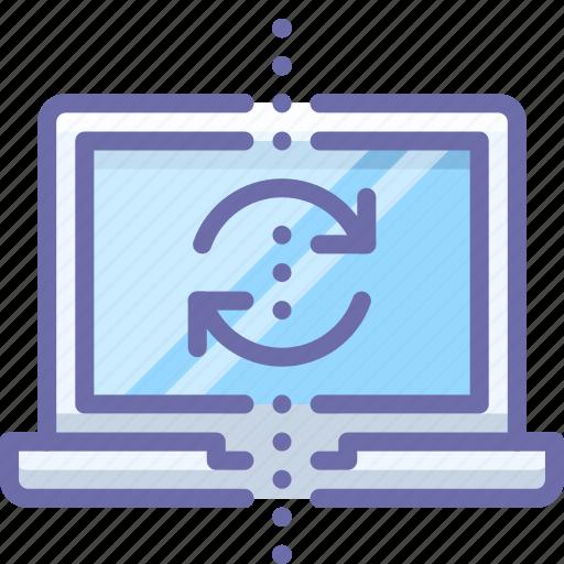 backup, laptop, sync icon