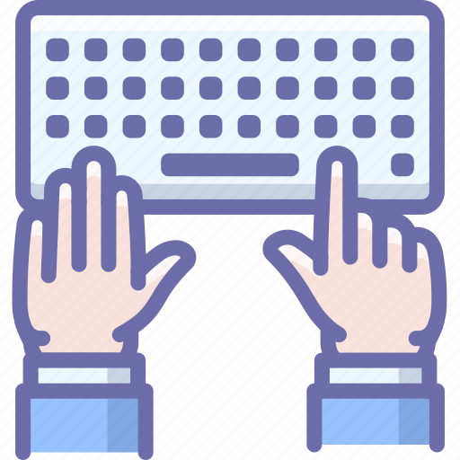 hands, keyboard, type icon