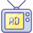 ad, advertise, advertisement, sponsor, tv icon