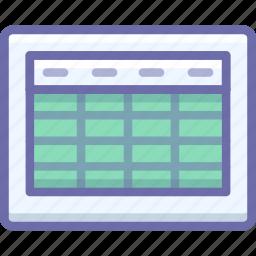 excel, grid, table icon