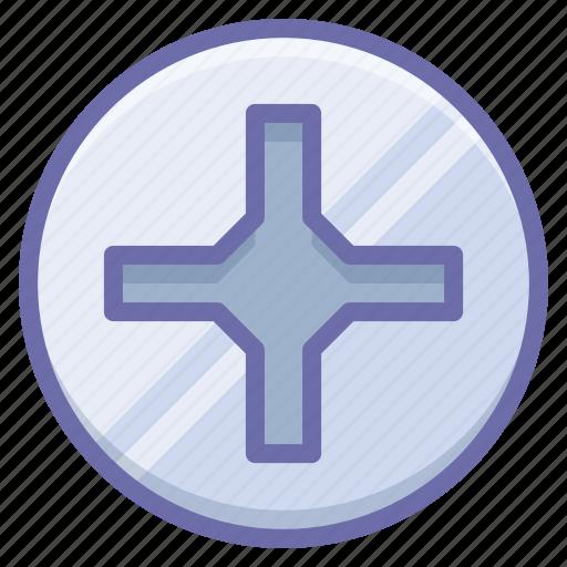 cross, pin, screwdriver icon