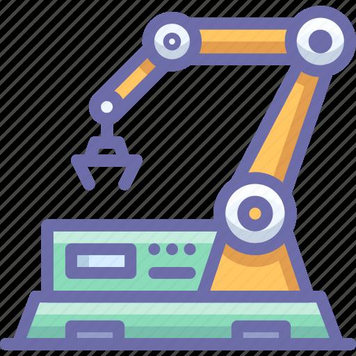 factory, line, robot icon