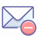 delete, mail, message icon