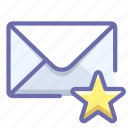 mail, message, star icon