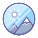 image, media, mountains, nature, photo icon