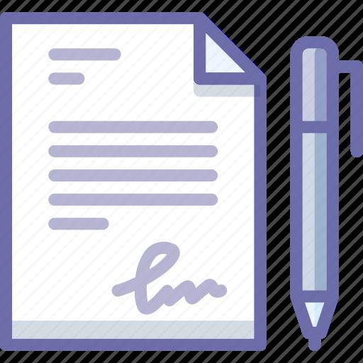document, sign, signature icon