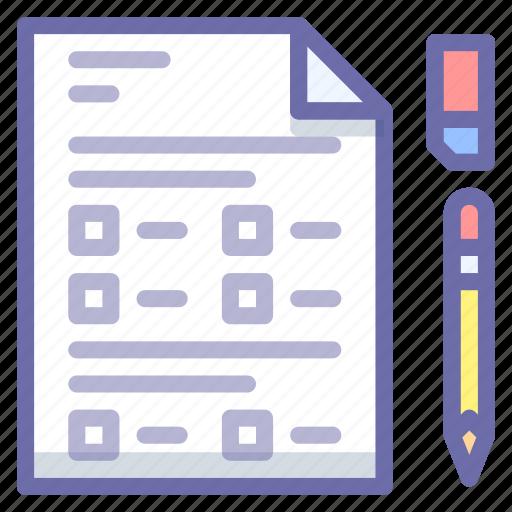 document, exam, test icon