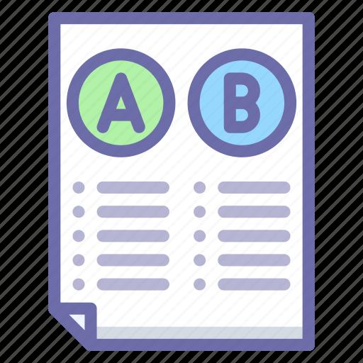 comparison, conversion, document icon