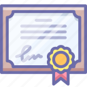 certificate, guarantee, license icon