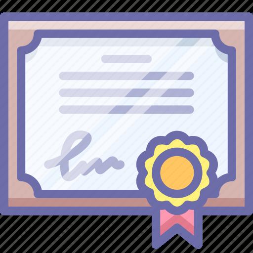 certificate, guarantee, license icon