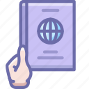 hand, pass, passport icon