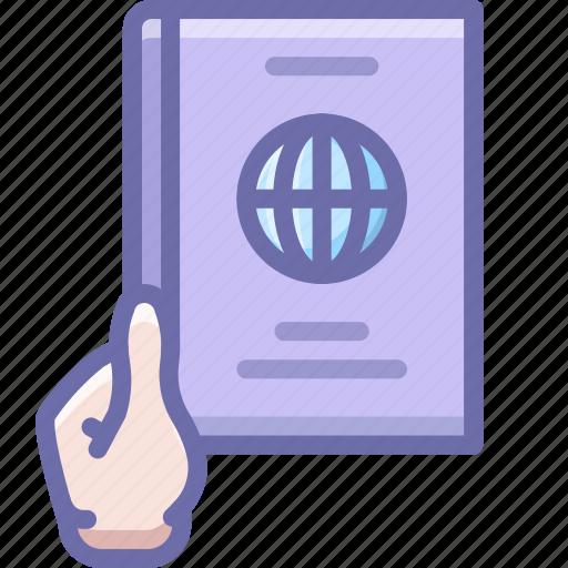 hand, pass, passport icon
