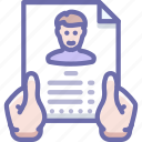 hands, profile, resume icon