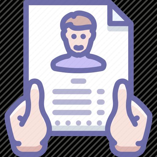hands, profile, resume icon