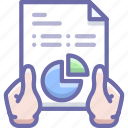 analytics, hands, report icon