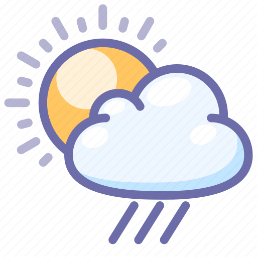 clouds, day, daylight, rain, rainy, sun, weather icon