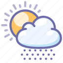 snow, sun, weather icon