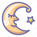 crescent, moon, face
