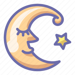 crescent, face, moon icon