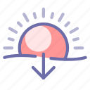 sun, sunset, weather icon