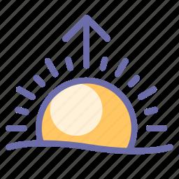 sun, sunset, weather icon