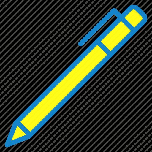 ballpoint, draw, pen, school icon