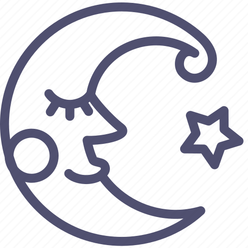 crescent, fable, face, fairy, moon, night, weather icon