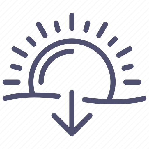 sun, sundown, sunset, weather icon