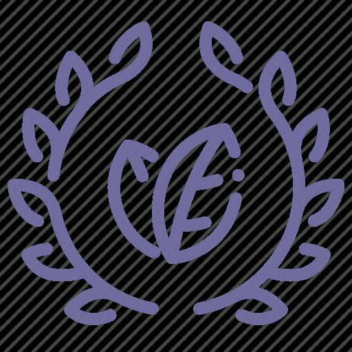 badge, eco, leaves, wreath icon