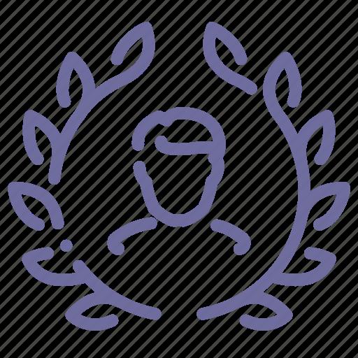 achievement, user, winner, wreath icon
