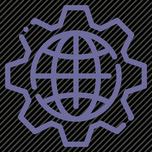 earth, gear, settings icon
