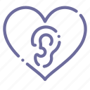 ears, heart, loving, love icon