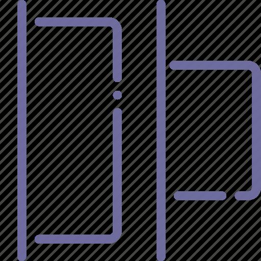 distribute, horizontal, left, tool icon