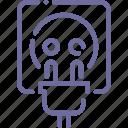 cord, electricity, plug, socket icon