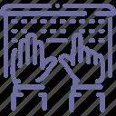 hands, laptop, type, work icon