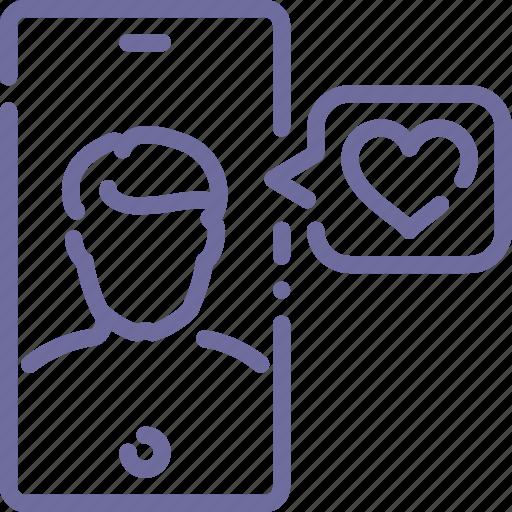 app, love, message, phone icon