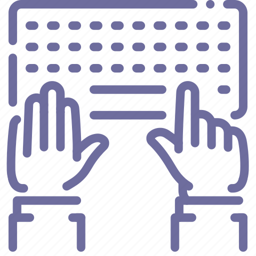 hands, keyboard, type, work icon