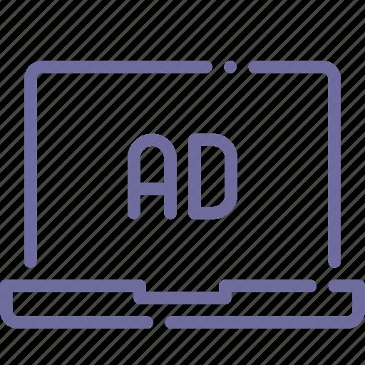 advertisement, advertising, banner, laptop icon