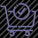 cart, check, shopping icon