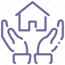 hands, home, protection icon