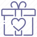 gift, heart, love, present icon