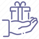 gift, give, hand, present icon