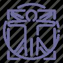 man, vinci, vitruvian icon