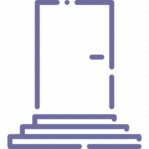 door, front, interior, stairs icon