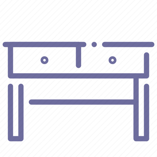 desk, drawer, furniture, table icon