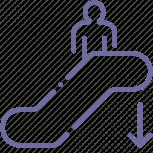 down, escalator, moving, staircase icon