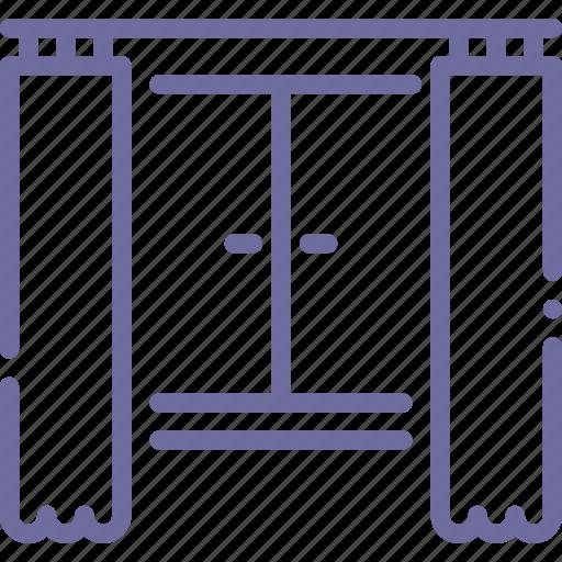 apartment, curtains, interior, window icon
