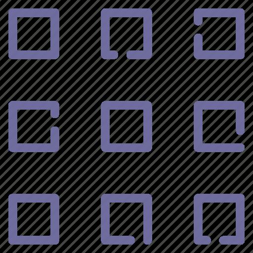 grid, medium, thumbnails, view icon