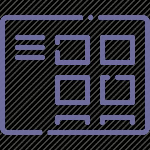 blog, menu, thumbnails, wireframe icon