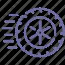 physics, wheel icon